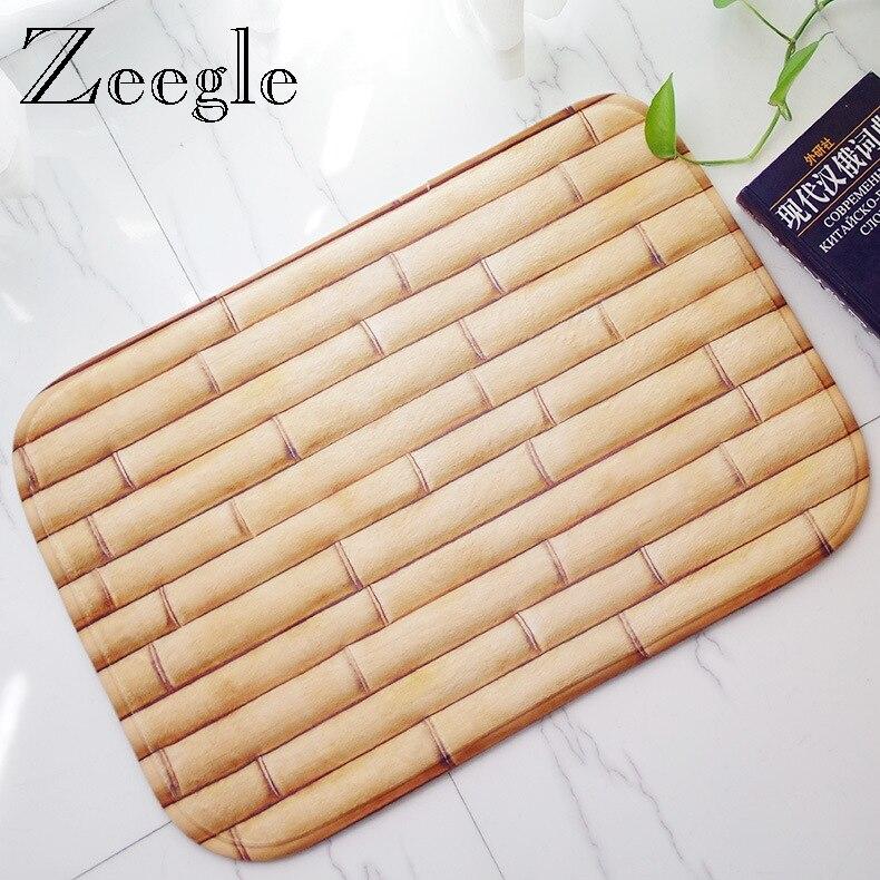 Felpudo antideslizante Zeegle para entrada, Felpudo de franela con espuma viscoelástica, Felpudo de bienvenida, Felpudo de puerta con patrón divertido de bambú para Cocina