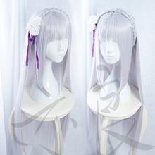 Re Zero/Re Zero Life dans un monde différent de Zero femme Emilia/Satella perruque Costume Cosplay perruque toute taille sur mesure