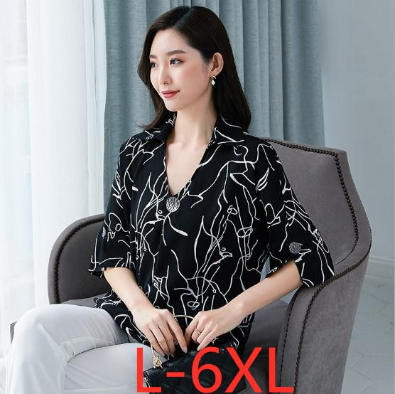 Женская шифоновая рубашка с коротким рукавом, Повседневная Свободная шифоновая рубашка большого размера 4XL 5XL 6XL, лето 2019