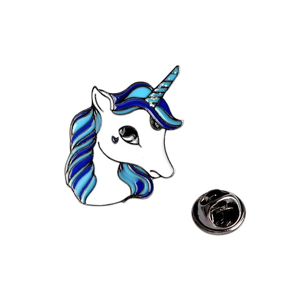 Dibujos Animados animales coloridos amigos broche botones azul púrpura chaqueta de mezclilla Pin regalo joyería de moda