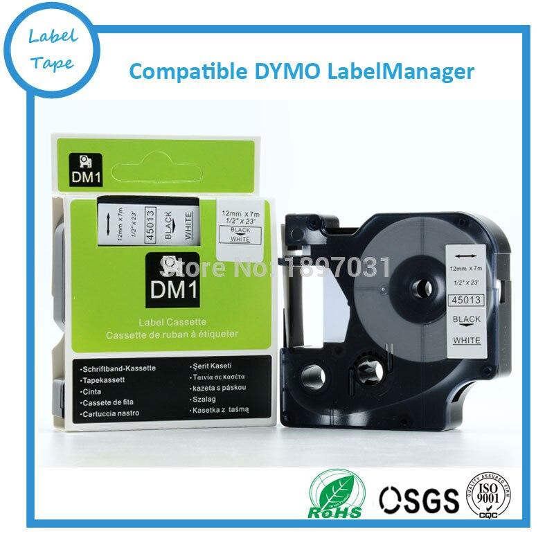 Cartucho de Impressora 45013 para Dymo Alta Qualidade Rótulo Dymo Tape Preto no Branco Fita d1 12mm