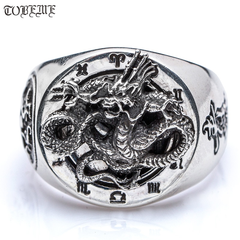 Anillo de dragón plateado hecho a mano de 100% 925, anillo de dragón Tigre con símbolo de Taichi Yingyang, anillo de buena suerte para hombre