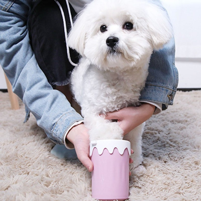 Taza limpiadora portátil de pata de perro taza limpiadora de pies de mascota bonita con diseño de helado cepillo de silicona 360-desengrasado herramienta de limpieza de copa de lavado de pies