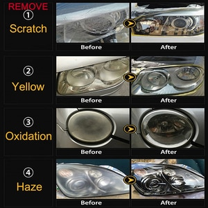Image 2 - LUDUO DIY наборы для восстановления фар, наборы для полировки фар, системы очистки пасты, уход за автомобилем, лампы для мытья головы, отбеливатель для восстановления и ремонта