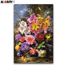 Peinture bricolage 5D diamant point de croix   Fleur de lys, couleur carrée, broderie diamant, pivoine, fleurs mosaïque diamant rond, rose