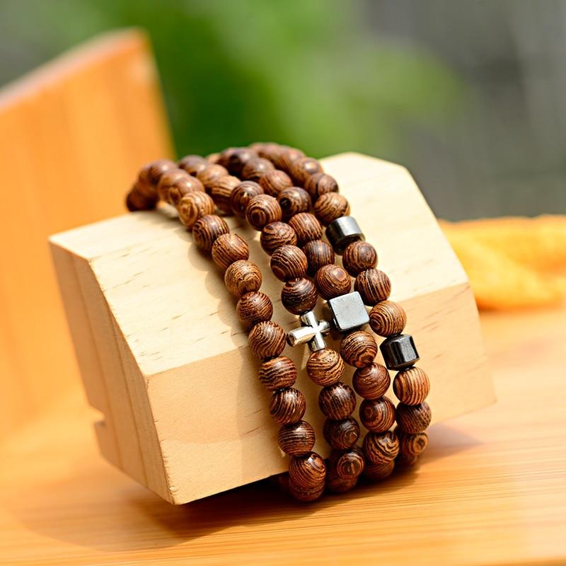 Fashion Women 6MM Natural Wood Beads Bracelet Homme 2019 Classic Ethnic Buddhism Men Cross Bracelet Prayer Jewelry Yoga jewelry