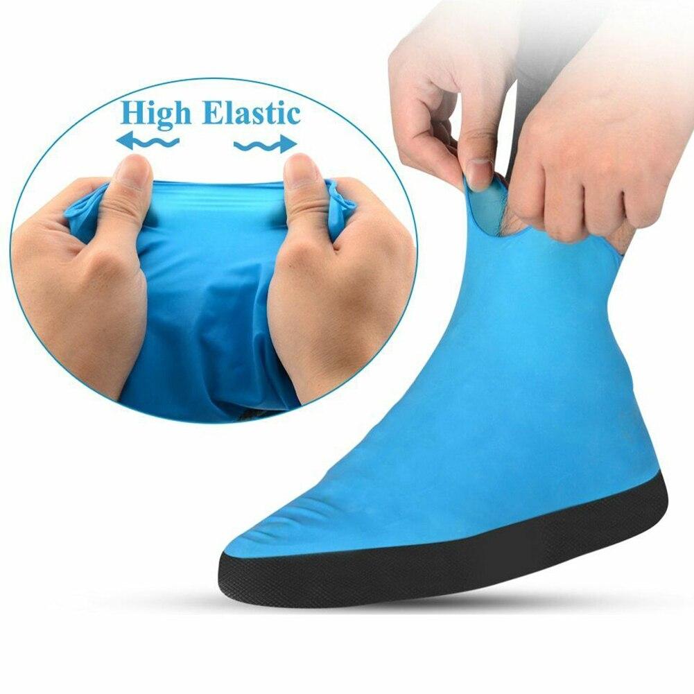 Capa para sapato, emulsão reutilizável, uso ao ar livre, roupa de calçado protetora, à prova d água, antichuva, ciclismo, sola grossa, acessórios