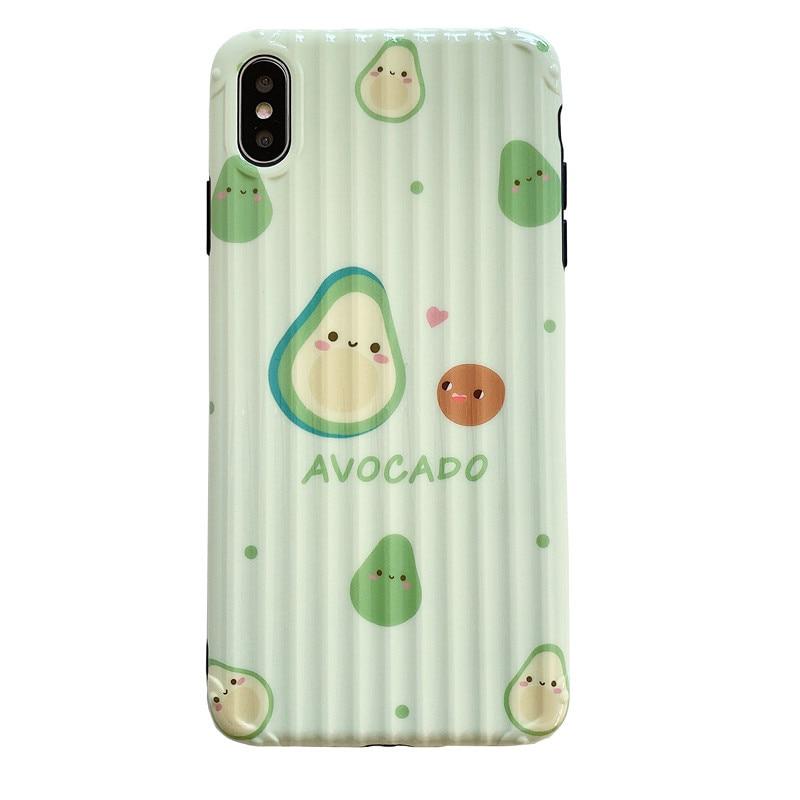 iphone xr case чехол на айфон 7 TPU Soft Shell for Apple Phone Ins Avocado Honey Peach X XsMAX 8Plus 7Plus 6SPlus Fall Proof