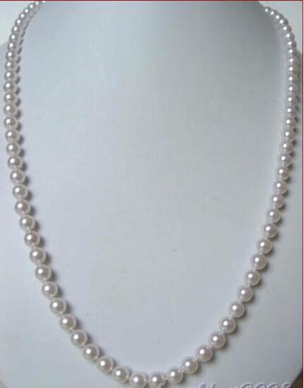 Rápido 30natural 7-7.5mm blanco AAA + collar de perlas de plata 925