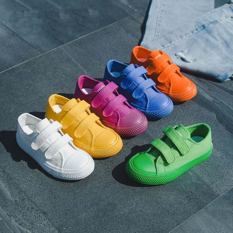 Zapatos de lona para estudiantes, zapatos deportivos transpirables para niños y niñas, zapatillas de caramelo a la moda, zapatos infantiles para guardería, zapatos infantiles
