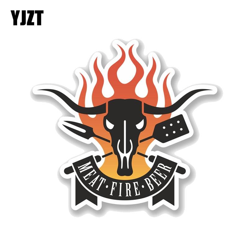 Yjzt 16.6 cm * 15.2 cm interessante churrasco carne fogo cerveja pvc motocicleta carro adesivo 11-00731