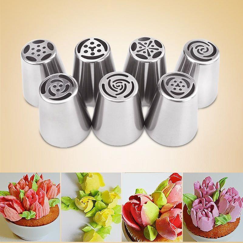 7 pçs/set Russa Tulipa Decoração Do Bolo Confeiteiro Piping Bicos Dicas Bocal De Impressora 3D Biscoitos Sugarcraft Pastry DIY Baking Ferramenta