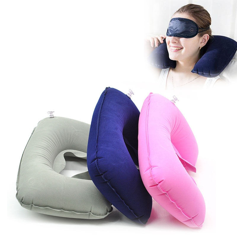 Almohada inflable en forma de U, cojín inflable de descanso para cabeza de coche, cojín inflable de descanso para viaje, avión, oficina, cojín inflable de descanso para cuello