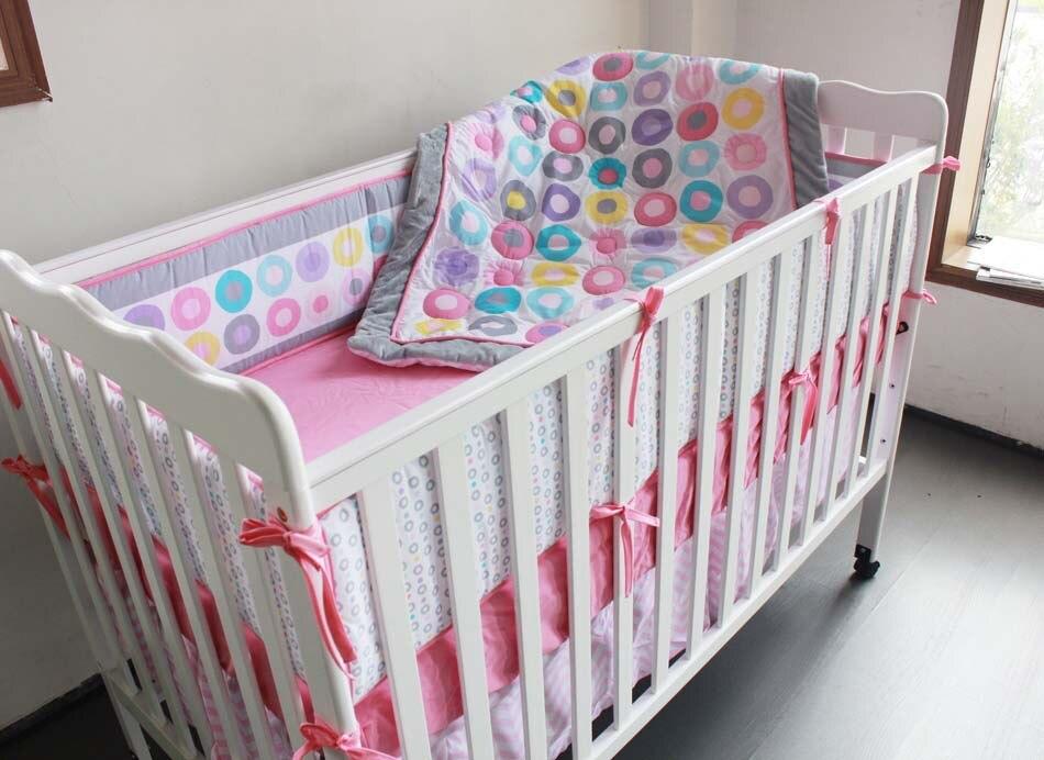 7 Uds bordado juego de ropa de cama para cuna de bebé, cuna, bebé cuna juego de cama cuna ropa de cuna (4 parachoques + funda + cubierta de cama + falda)