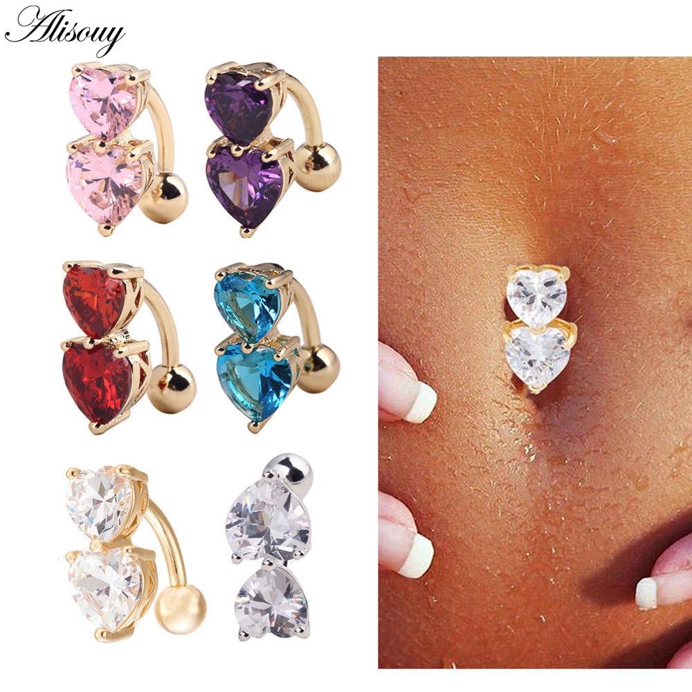 Alisouy 1PC Steel Belly Button Rings Crystal Piercing Navel Piercing Navel Earring Gold Belly Piercing Sex Body Jewelry Piercing