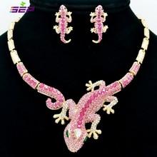 Fashion  Animal Gecko Lizard Necklace Earring Sets with Rhinestone Crystal Women Jewelry Set FA3274