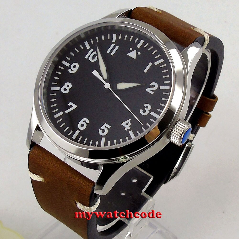 42mm Corgeut Black Sterile Dial White Marks Luminous Marks Sapphire Glass Sea-gull Miyota 8215 Automatic Mens Watch C127