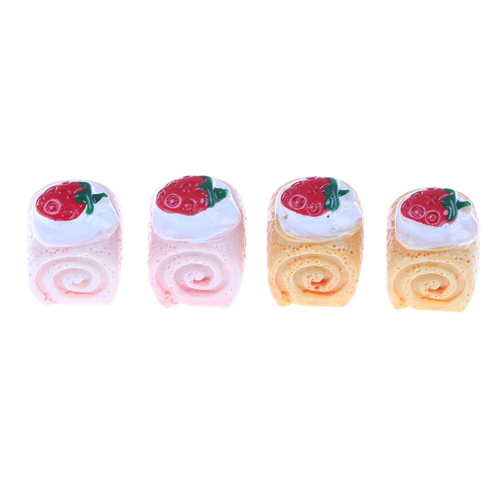 5 uds. Torta de fresa de simulación, pasteles en miniatura adorables, cabujones de resina para la decoración del teléfono, artesanía que hace el juguete de cocina DIY