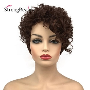 StrongBeauty Short Curly Women's Wigs Asymmetrical Side Bang Synthetic Hair Heat Resistant Wig