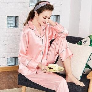 SSH0110 New Pajamas for Women Quality Satin Silk Women Sleepwear Full Length Sleeves Pant Pajama Set Female 2 pieces Set Pajamas