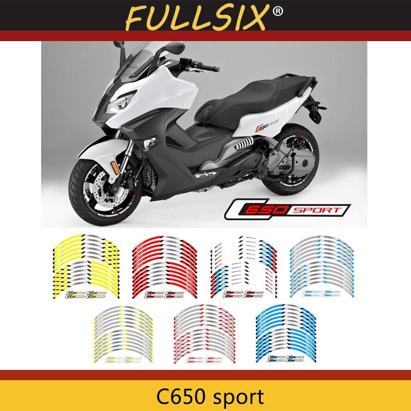 Pegatina de borde exterior de rueda delantera y trasera de motocicleta, calcomanías reflectantes de rayas para BMW C650 sport
