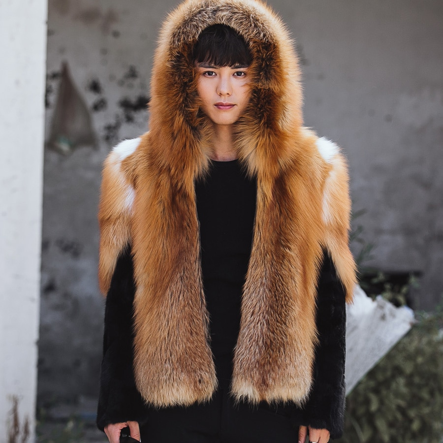 Support Custom Mens Fox Fur Hooded Coat Fox Fur And Mink Skin Jacket Luxury Gold Color Super Warmth