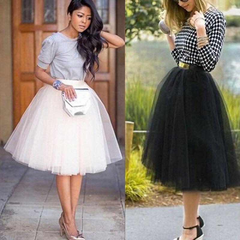 New Style Women Skirts Sexy Sweet Style Tutu Skirt Princess Women Petticoat Tulle Long Layered Solid High Waist Fashion Hot 2019