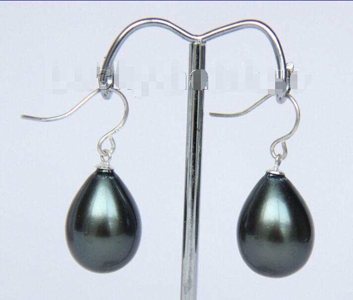 Lovely Womens Wedding Jewelry shipping  Dangle 12*16mm drip Black sea shell pearls earring 925s hook j9384 Fine Factory direct