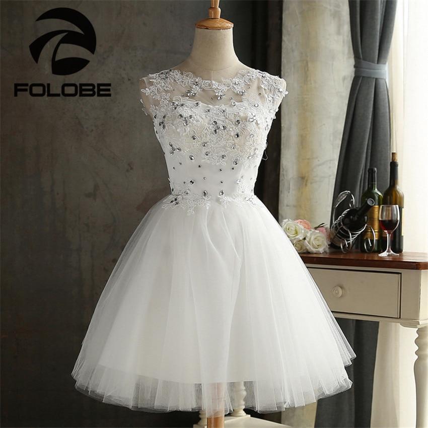 Elegant Sheer Neck Beading Lace Vestidos De Festa Crystal A-Line Mini Homecoming Dresses Robe De Soiree Short Prom Party Gowns