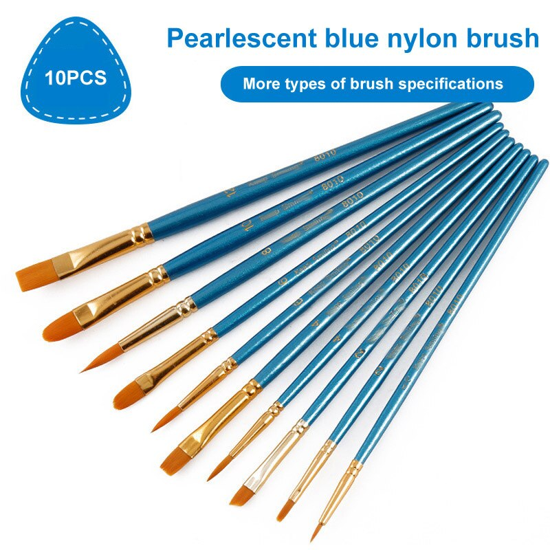 Juego de pinceles de pintura para niños, 10 Uds., mango de madera azul perla, suministros de arte, punta de punto de pintura para dibujo, pluma, punta plana, bolígrafos