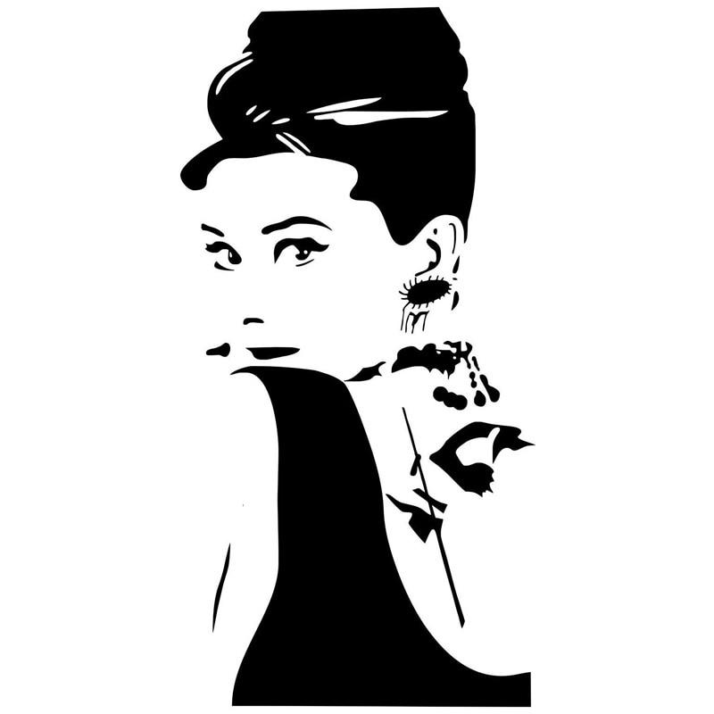 9.5cm*18.6cm Beauty Female Fashion Vinyl Car-Styling Car Sticker Decor Black/Silver S3-4997