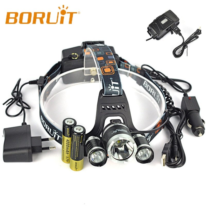 Boruit RJ-5000 5000 lm 3 cree XM-L2 4 modos de led farol acampamento caça cabeça lâmpada + 2*18650 bateria carro carregador usb