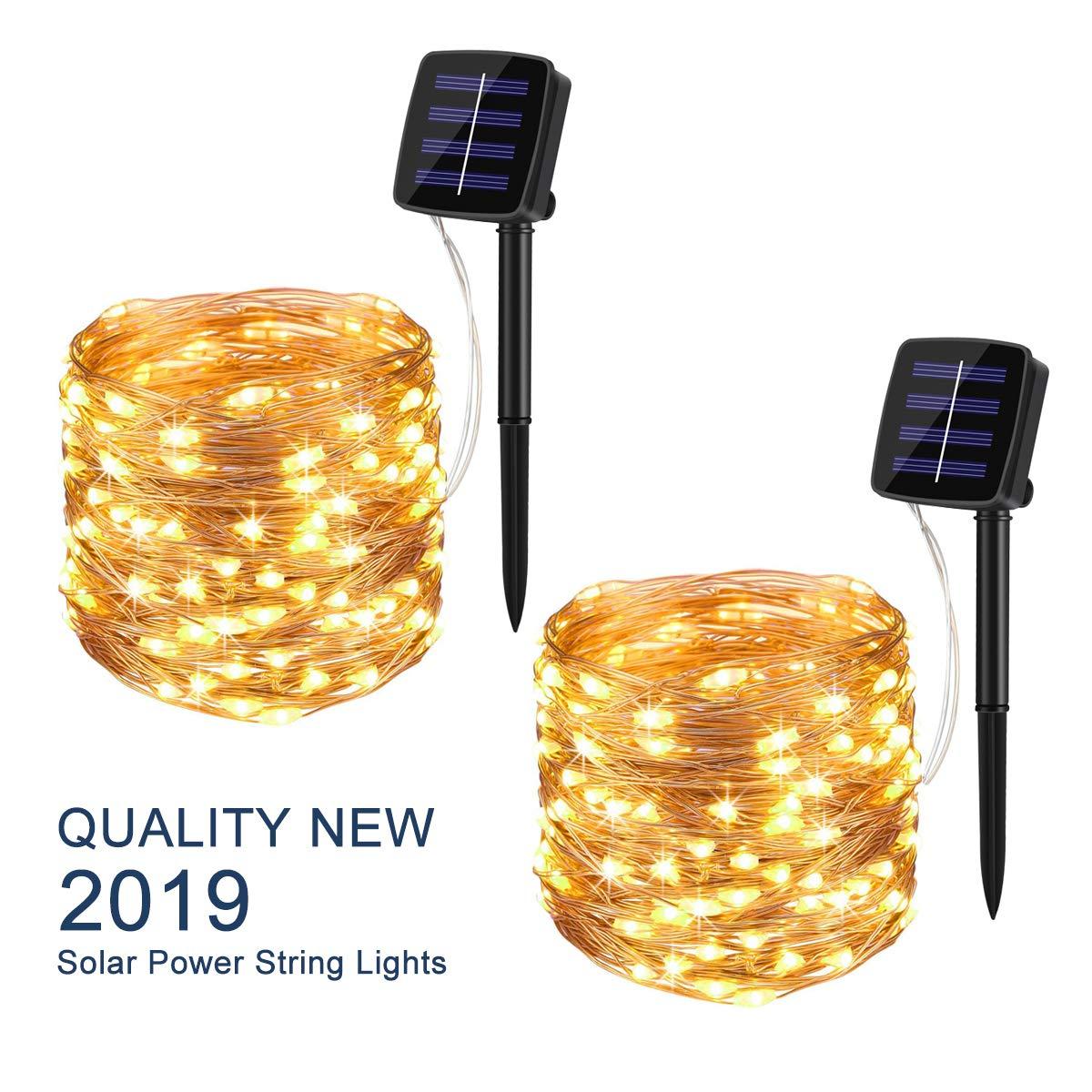 Guirnaldas de luces alimentadas por energía Solar de Navidad para exteriores, luz 72ft 200 guirnaldas de luces LED para Patio, jardín, Patio, fiesta, decoración de boda