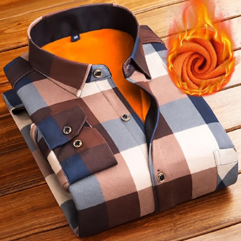 Модные мужские зимние плотные фланелевые теплые рубашки в клетку, мужские рабочие рубашки с длинным рукавом, повседневные приталенные руба...