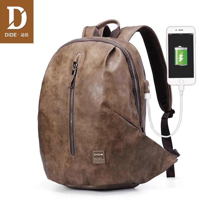 DIDE Anti-thief USB 15.6 inch Laptop Backpacks For Teenager Boys Male Mochila Vintage Leather Travel Shoulder backpack Bag Men