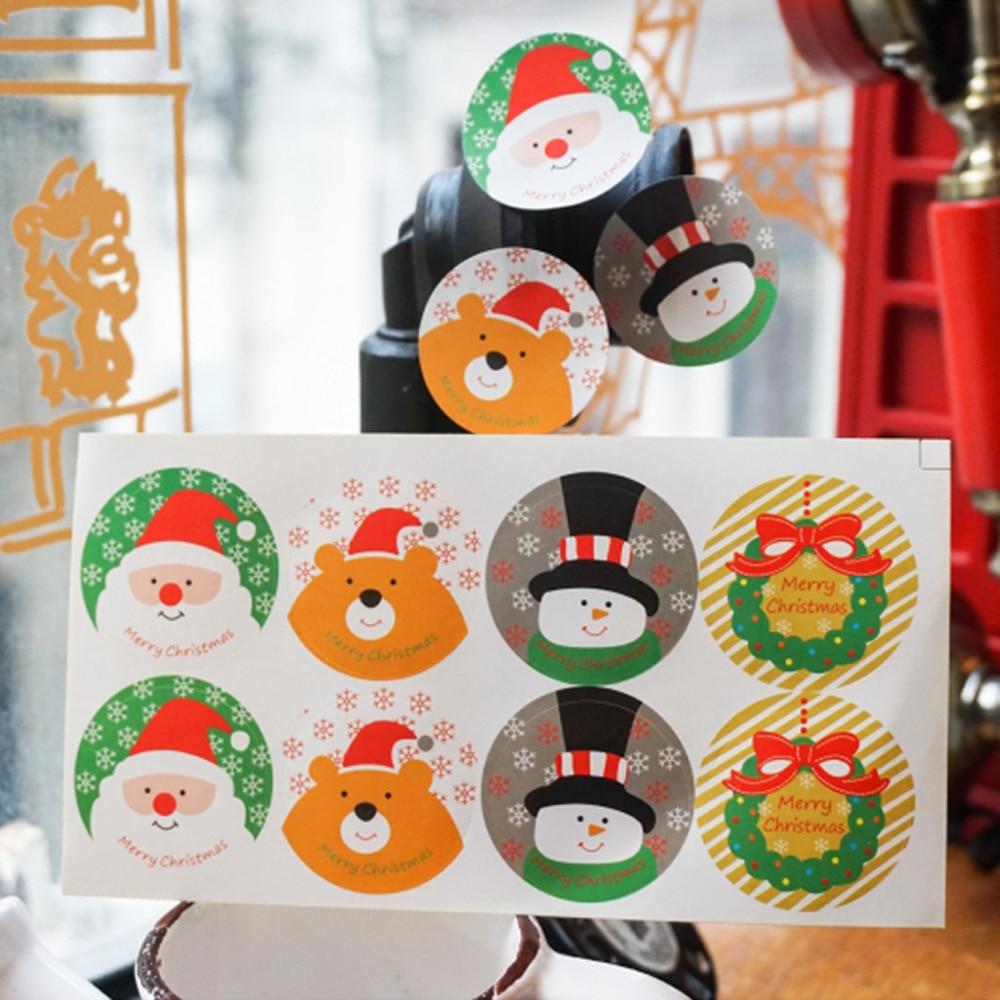 120 Uds. Etiquetas circulares de diseño navideño para alimentos sección sellado Paquete de etiquetas galletas de Chocolate de panadería adhesivo para pasteles pegatinas para álbum de recortes