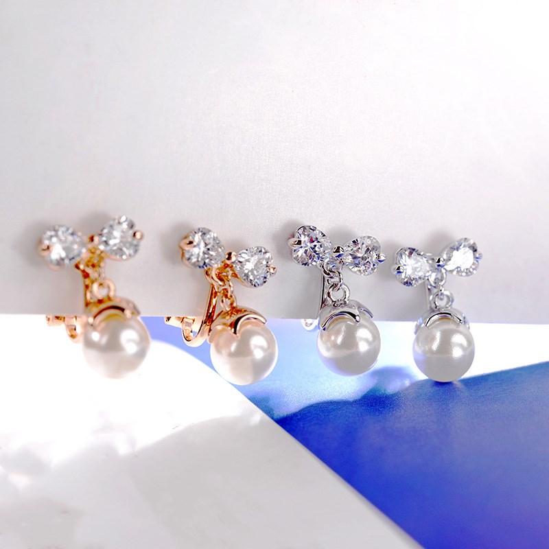 ¡Moda 2020! Pendientes de cristal femenino sin orejas con perlas de circonio salvaje y temperamento de swarovscis, 2 colores para regalo para mujer