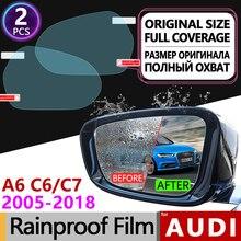2Pcs for Audi A6 C6 C7 2005 - 2011 4F 4G Full Cover Anti Fog Film Rearview Mirror Rainproof Anti-Fog Films Car Accessories Sline