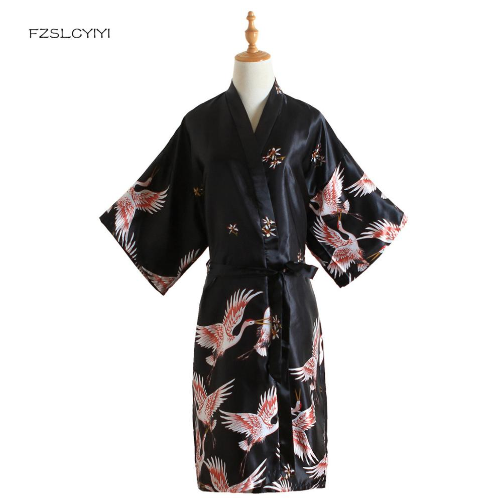 FZSLCYIYI, ropa de dormir para mujer con estampado negro, bata de rayón de seda china, vestido de novia, camisón de boda Sexy, bata de baño Kimono