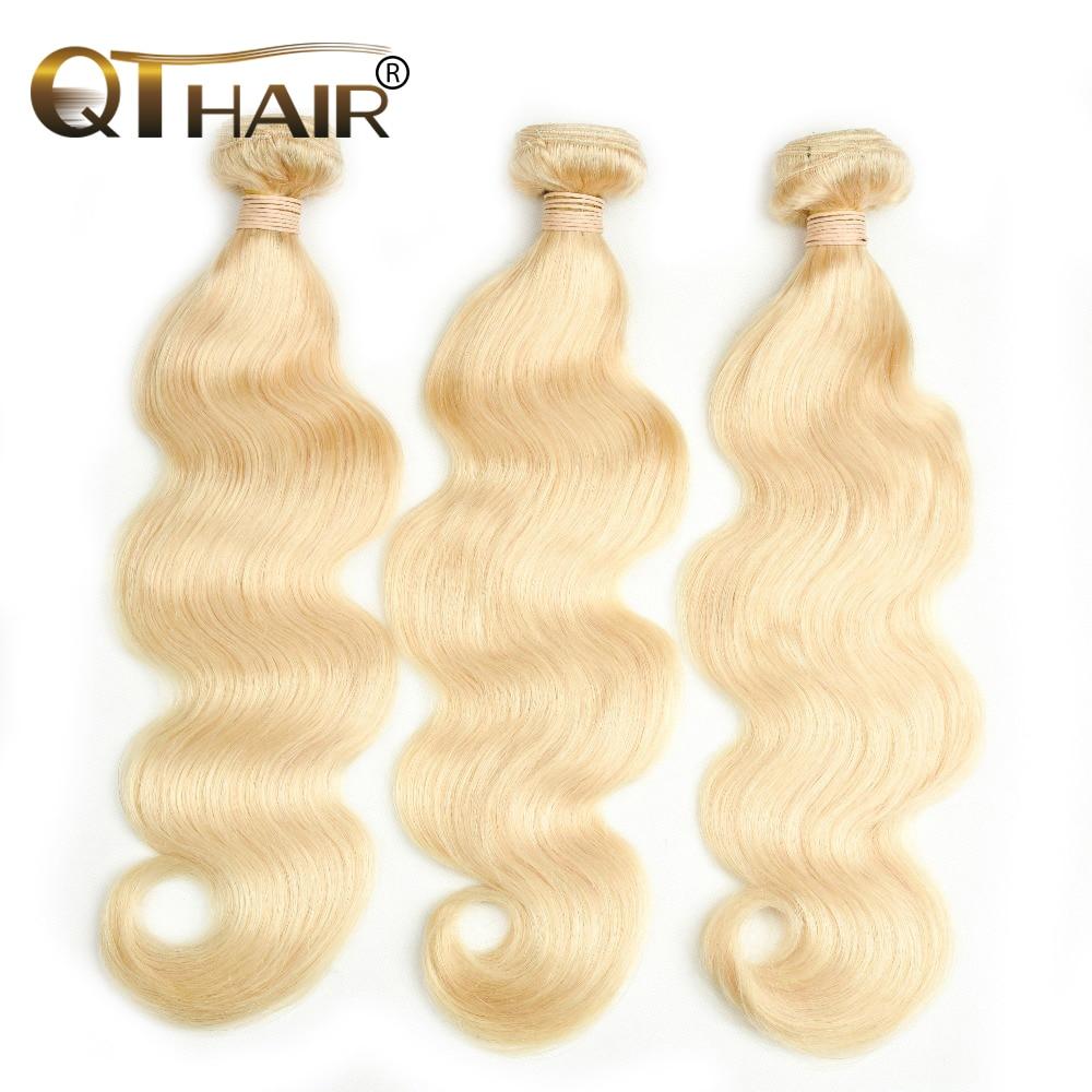 """QT 3 piezas Color rubio cabello peruano paquetes 100% cabello humano 613 cabello no Remy onda del cuerpo 3 paquetes tejido 8-26"""""""