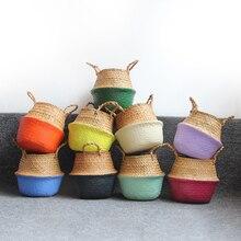 Panier à linge panier de rangement   panier de rangement en paille fait à la main, organisateur Pot de plantes, planteur de fleurs, Pots de pépinières, panier en osier pour jouets