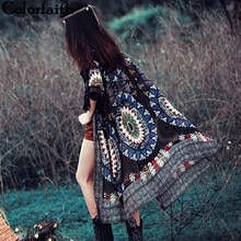 Mode 2016 Vintage Tribal Kwasten Gedrukt Kimono Vest Vrouwen Tops Lange Chiffon Shirt Blouse Roupas Femininas Camisa CA004