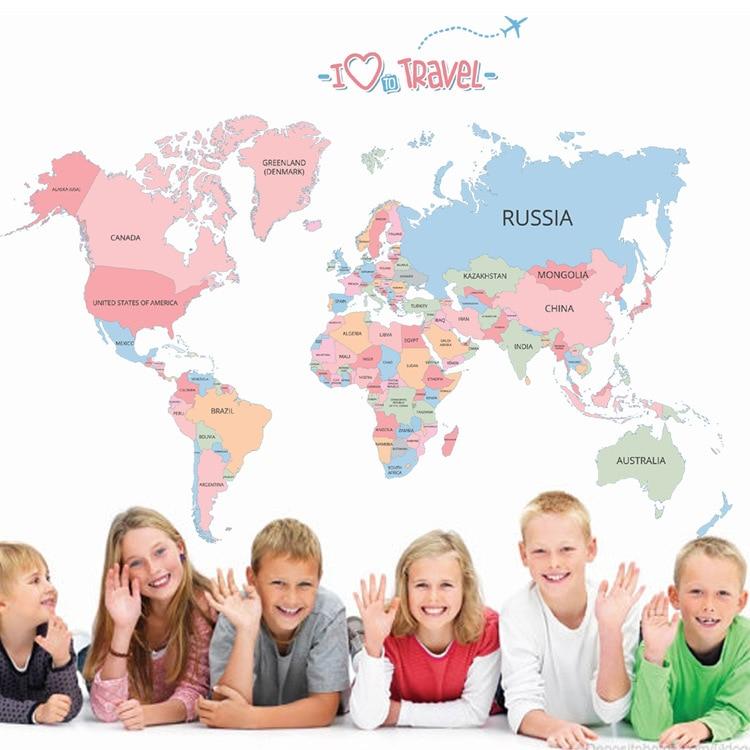 Nuevo caliente color inglés mapa del mundo personalizado habitación sala de color pegatinas para pared en inglés TT-035