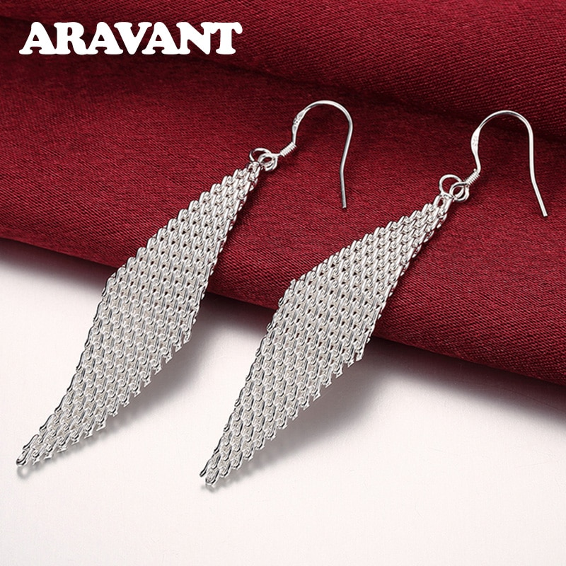 925 Silver Weave Long Drop Earrings For Women Wedding Party Silver Pendientes Jewelry Gift v ya 925 stertling silver agates water drop earrings natural stone dangle earrings women wedding party jewelry gift