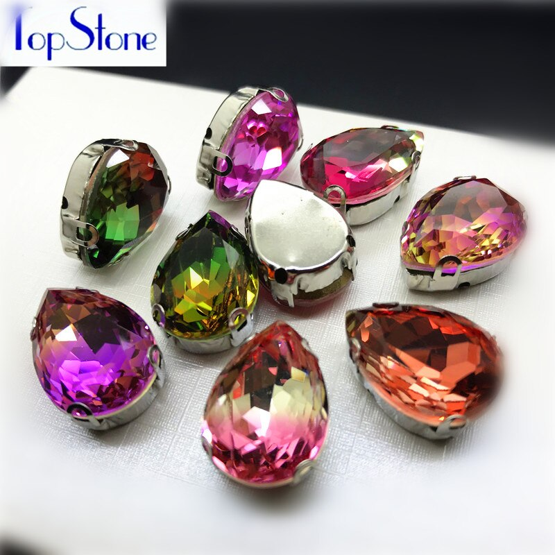 Mix Colors Tourmaline K9 Glass Droplet Sew On Claw Rhinestone 10x14mm,13X18mm Teardrop Fancy Stone With Claw Setting