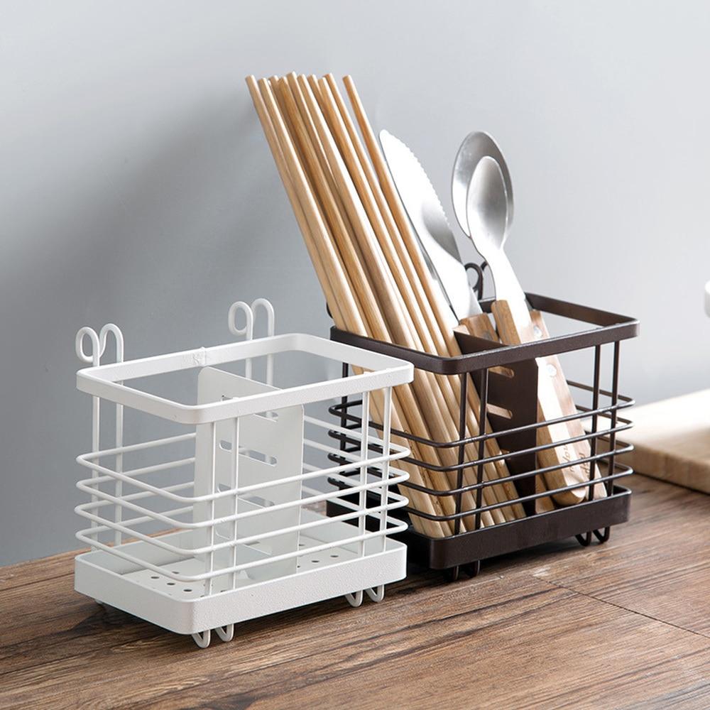 1pc Creative iron chopstick cage wall hanging cabinet door drain chopstick rack kitchen spoon knife fork storage box wx8081813