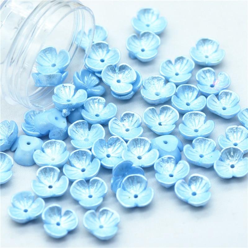 50 Uds. Cabujones de flores de perlas azules para bebé de 10mm   miniaturas de flores de resina con parte posterior plana para álbum de recortes   miniaturas de flores falsas