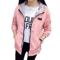 Куртка-бомбер женская с карманами, модная двухсторонняя верхняя одежда на молнии, с капюшоном, свободная ветровка, весна-осень размера плюс
