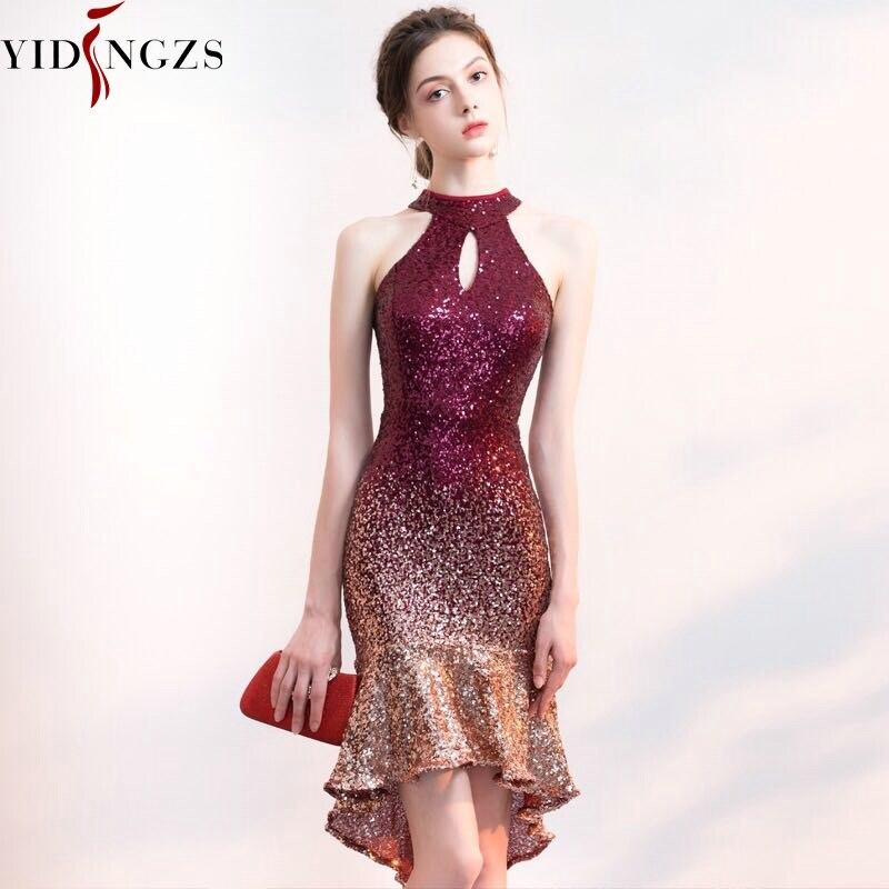 Yidingzs halter elegante lantejoulas vestido de baile curto frente longa volta brilho noite vestido de festa yd661