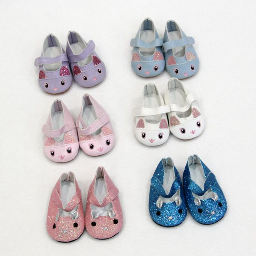 Cute Cat Sports Boots 7cm Shoes Fits 18 inch Doll 43CM  Baby New Born Dolls Reborn  Mini Doll Shoes For Girl Doll boots недорого